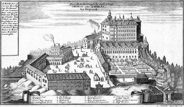 Schloss Ambras in de winter omstreeks 1700