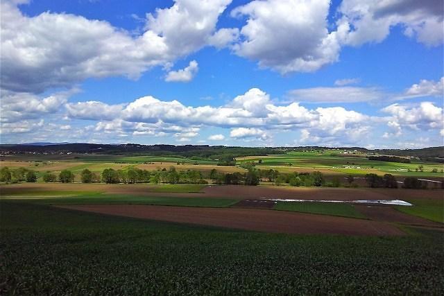 Typisch glooiend landschap van de deelstaat Burgenland.