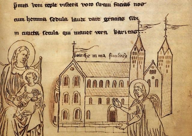 Een hurkende heilige Hemma, door een onbekende tekenaar uit de 14e eeuw die niet wist dat de kathedraal pas na de dood van Hemma werd gebouwd