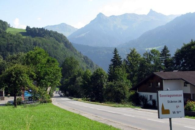 Het begin van de Montafon bij Sankt Anton