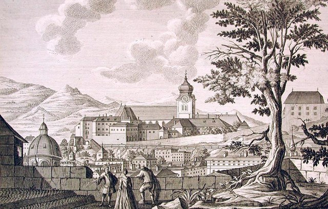 Stift Nonnberg aan het begin van de 18e eeuw