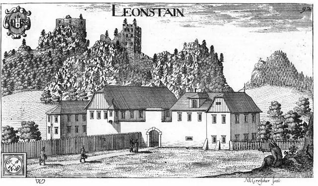 Leonstein en Leonstain op een tekening uit 1680 door Johann Weichard von Valvasor.