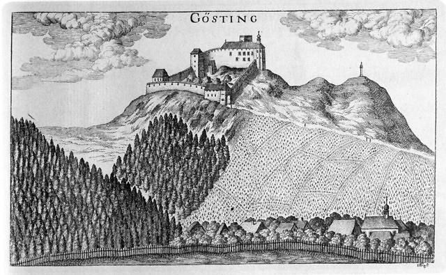 Het kasteel in 1681, tekening van Georg Mathias Vischer.