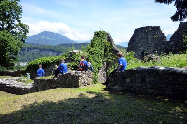 De overblijfselen van het palas van het kasteel