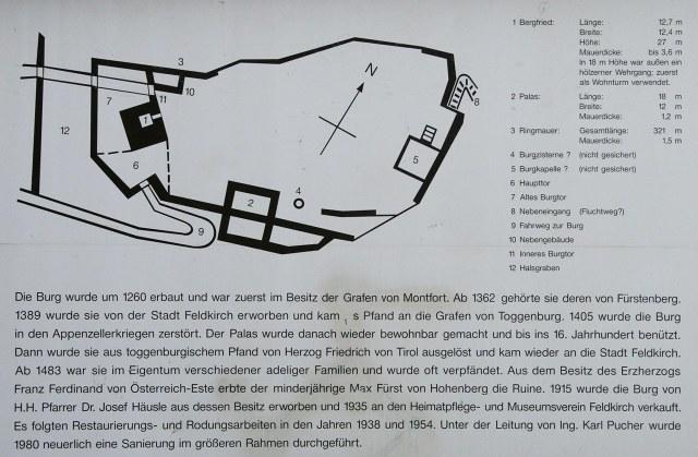 Op het bordje naast de toren vind je een plattegrond en nog wat meer gedetailleerde historische informatie