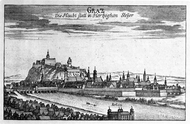 Historische tekening van Graz
