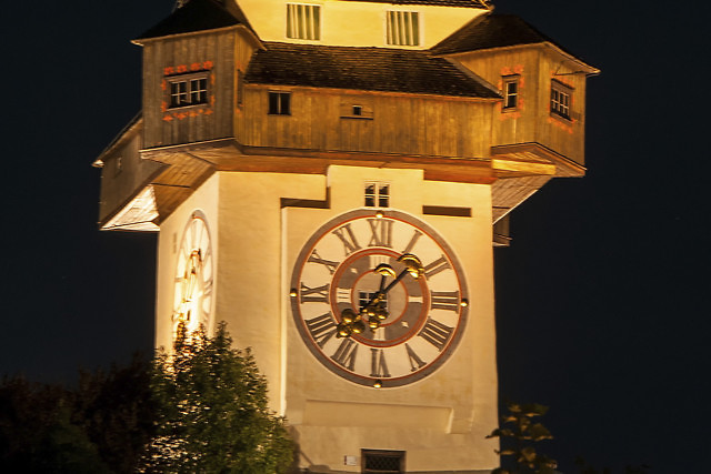 De klok van de Uhrturm