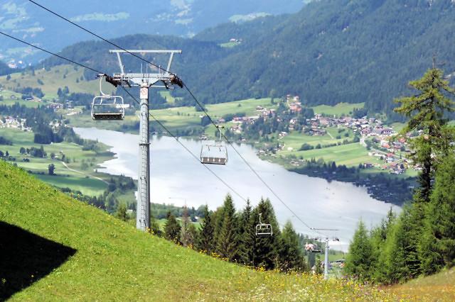 De Bergbahn Weißensee vanaf de Naggler Alm