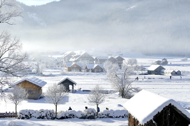 De winters zijn koud bij de Weißensee