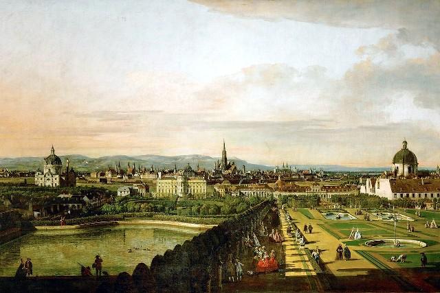 Schilderij van Wenen halverwege de 18e eeuw